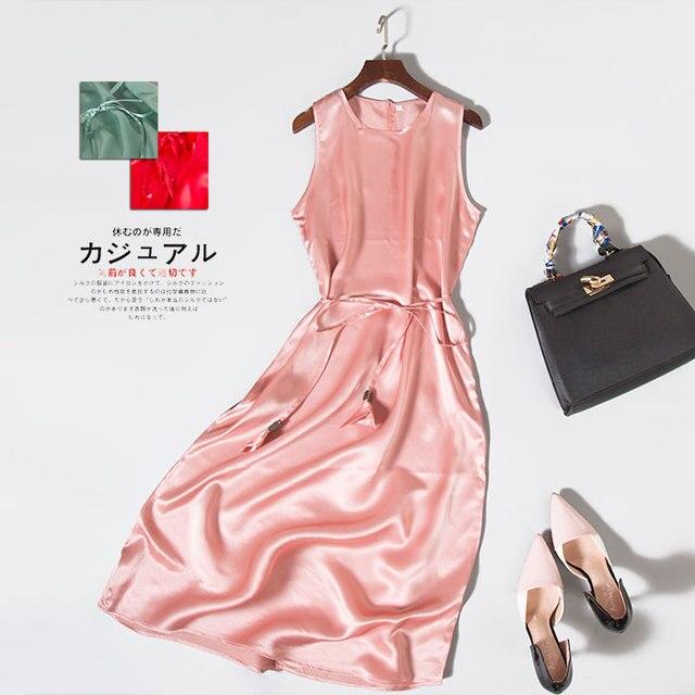 Women Satin dress 100%Natural silk long dress solid mulberry silk classic dress NEW Pink Green Red