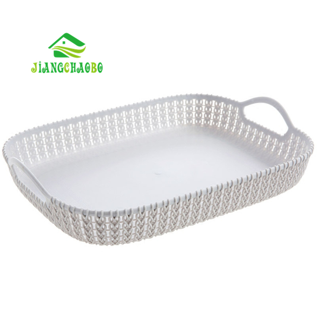 Imitation Rattan Woven Basket Kitchen Vegetables Fruit Basket Hand Held Rectangular  Storage Basket Plastic Storage