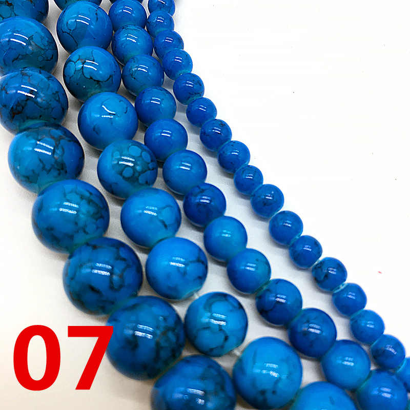 NEW 4 /6 /8 /10 mm Blue Chic Glass Loose Spacer Charm Beads Pattern DIY Jewelry Making Accessory