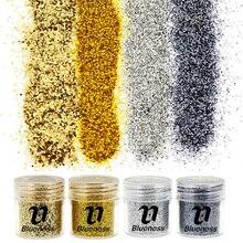 4 бутылки/набор золотой серебряный черный блесток пыль драгоценный камень блеск для ногтей украшения акриловая блестящая в УФ-свете пудра 3D ногтей советы BG057-060