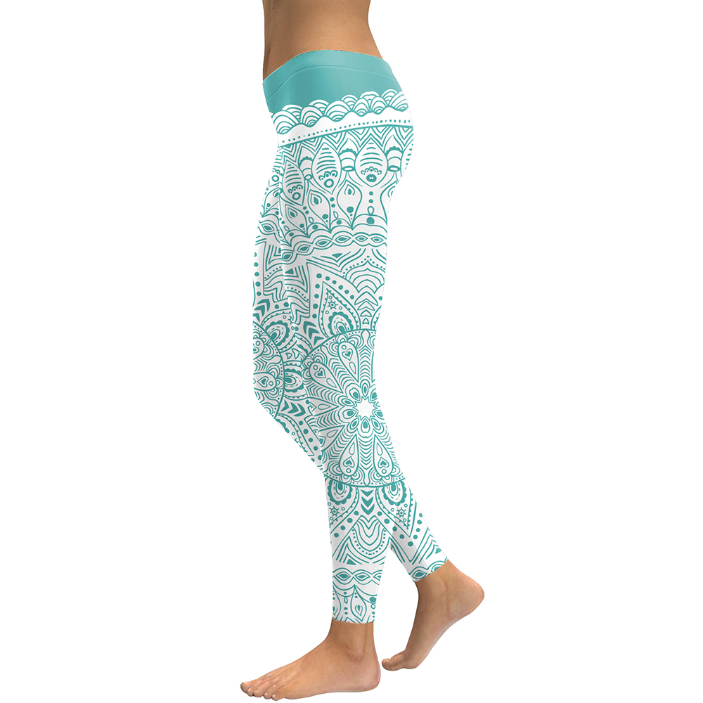 FCCEXIO 2019 Autumn and Winter New Arrival Women Leggings Aztec Round Ombre Flower Printed Fitness Leggins Green Work Out Pants