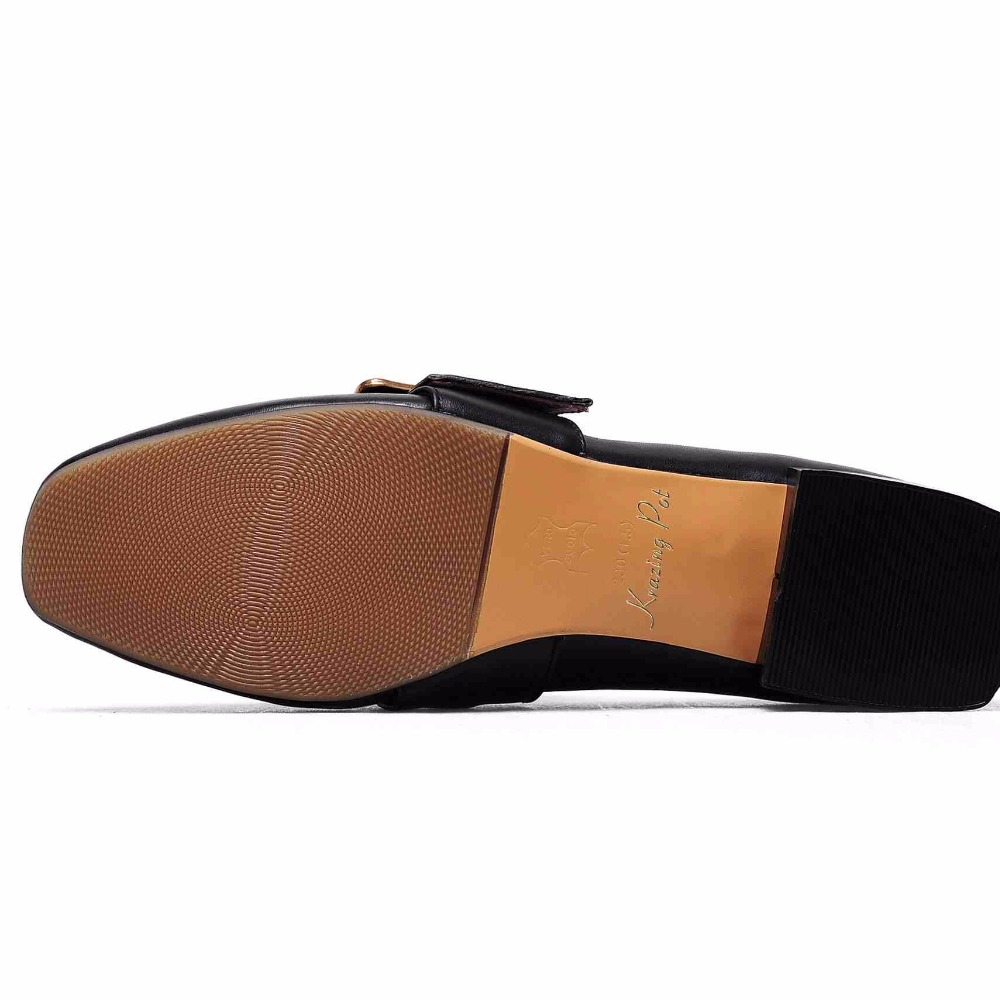 Volle Plus 2018 Leder Adrette Ferse ApricotSchwarzBraun Mode Metallschnalle Schuhe Gre Niedrigen L72 Blume Krazing Komfortable Frauen mn8w0N