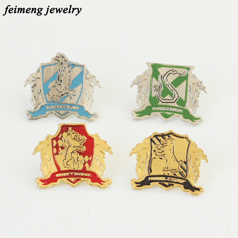 Hogwarts Magic School Gryffindor Ravenclaw Hufflepuff Slytherin Brooch Pins Top Quality Kinds Of Brooches Badge Fashion Jewelry