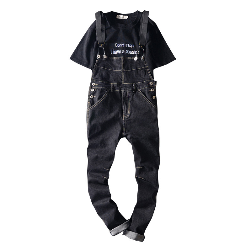 Fashion Men's Slim Length Black Cargo Bib Pants Male Hole Ripped Denim Jeans Suspenders Overalls Jumpsuits For Men hot new men s overalls fashionable denim bib pants slim strap pants tooling suspenders trousers jeans singer costumes rompers