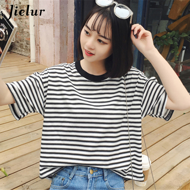 14100beffd91 Korean New Casual Simple Striped T-shirt Female Short-sleeved Leisure  Students Top Summer Loose O-neck T shirts for Women S-XL
