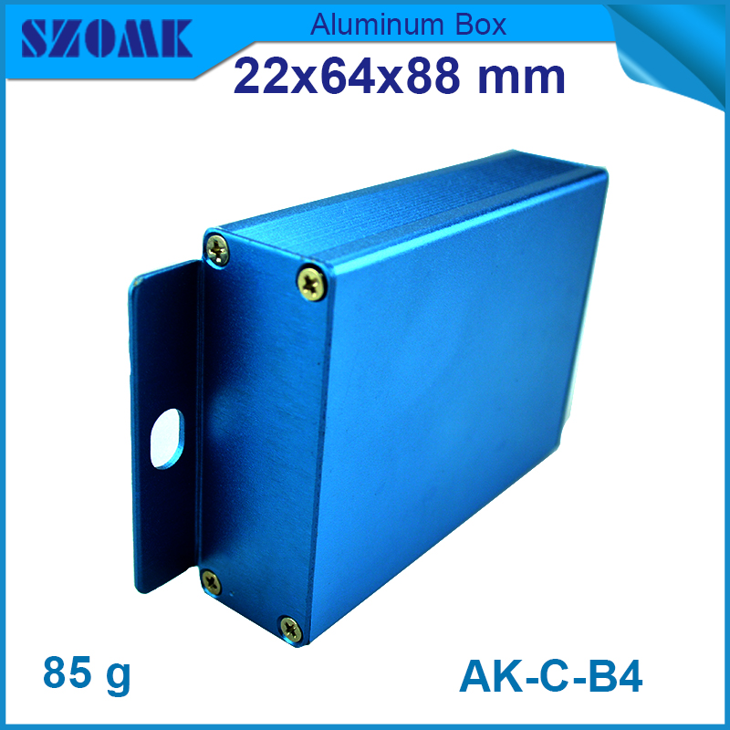 1 piece free shipping Blue color electronic aluminium box for project aluminum diy electrical junction case 22(H)x64(W)X88(L)mm 1 piece free shipping outdoor electrical junction box plastic case for electronic equipment ip 68 box 120x120x55 mm