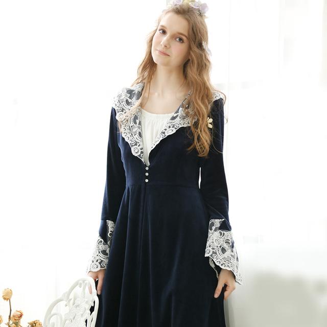 Robes de renda Real Do Vintage Feminino Espessamento da Longo-Luva Plus Size Princesa Roupão Projeto Longo Lounge Sleepwear Mulheres Nightwear