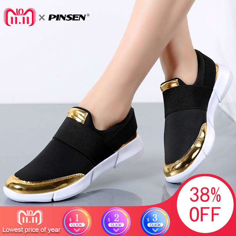 PINSEN Brand Women Casual loafers Breathable Summer Flat Shoes Woman Slip on Casual Shoes New Zapatillas Flats Shoes Size 35-42 wdzkn 2018 big size 35 42 women shoes breathable casual shoes women spring summer lightweight slip on loafers women flat shoes