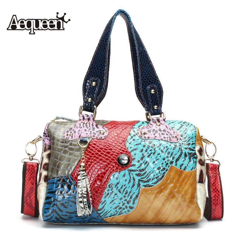 AEQUEEN Genuine Leather Women Shoulder Bags Patchwork Tassel Rivet Colorful Boston Bags Crossbody Ladies Handbag Random Color