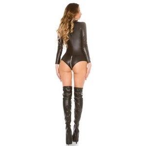 Image 4 - Sexy wetlook Lingerie Women Latex Catsuit Faux Leather Front Zipper Crotch Bodysuit Fetish Costumes Erotic Body Suit Plus Size