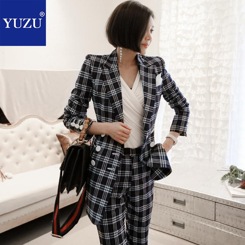 Pant Suits For Women Black Plaid 2 Piece Set 2018 Winter Office Business Blazer Double Breasted Turn-down Collar Long Jacket