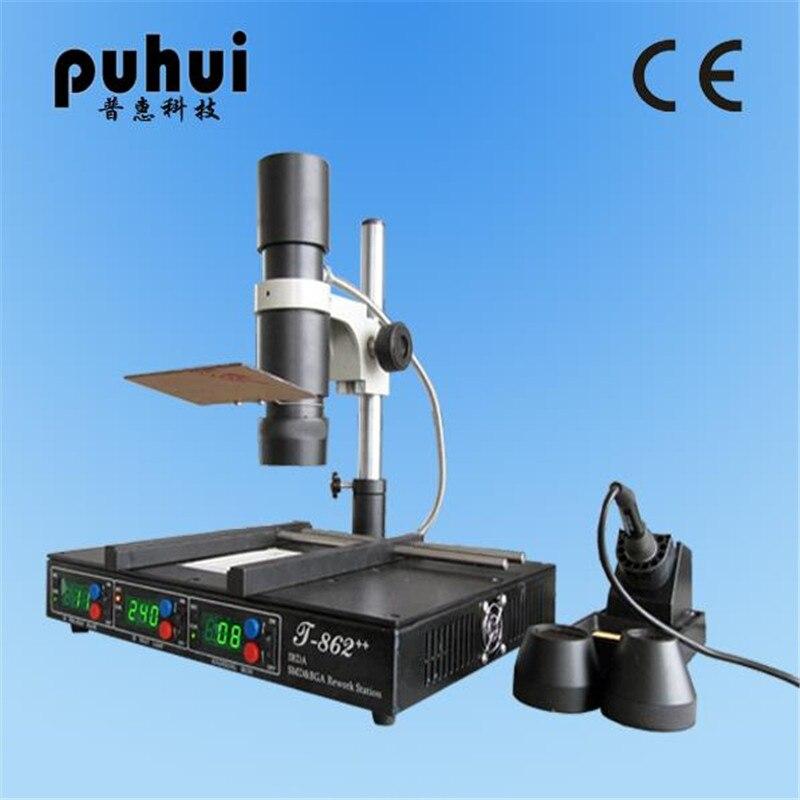 PUHUI T862++ Advanced Infrared Heating Rework Station SMT SMD IRDA BGA Welder 800W 120 X120mm T-862++ hot selling bga welding machine irda welder puhui t862 bga rework station