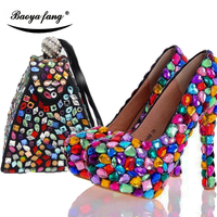 BaoYaFang Multicolor crystal Women Wedding shoes with matching bags high heels platform shoes woman party dress Pumps