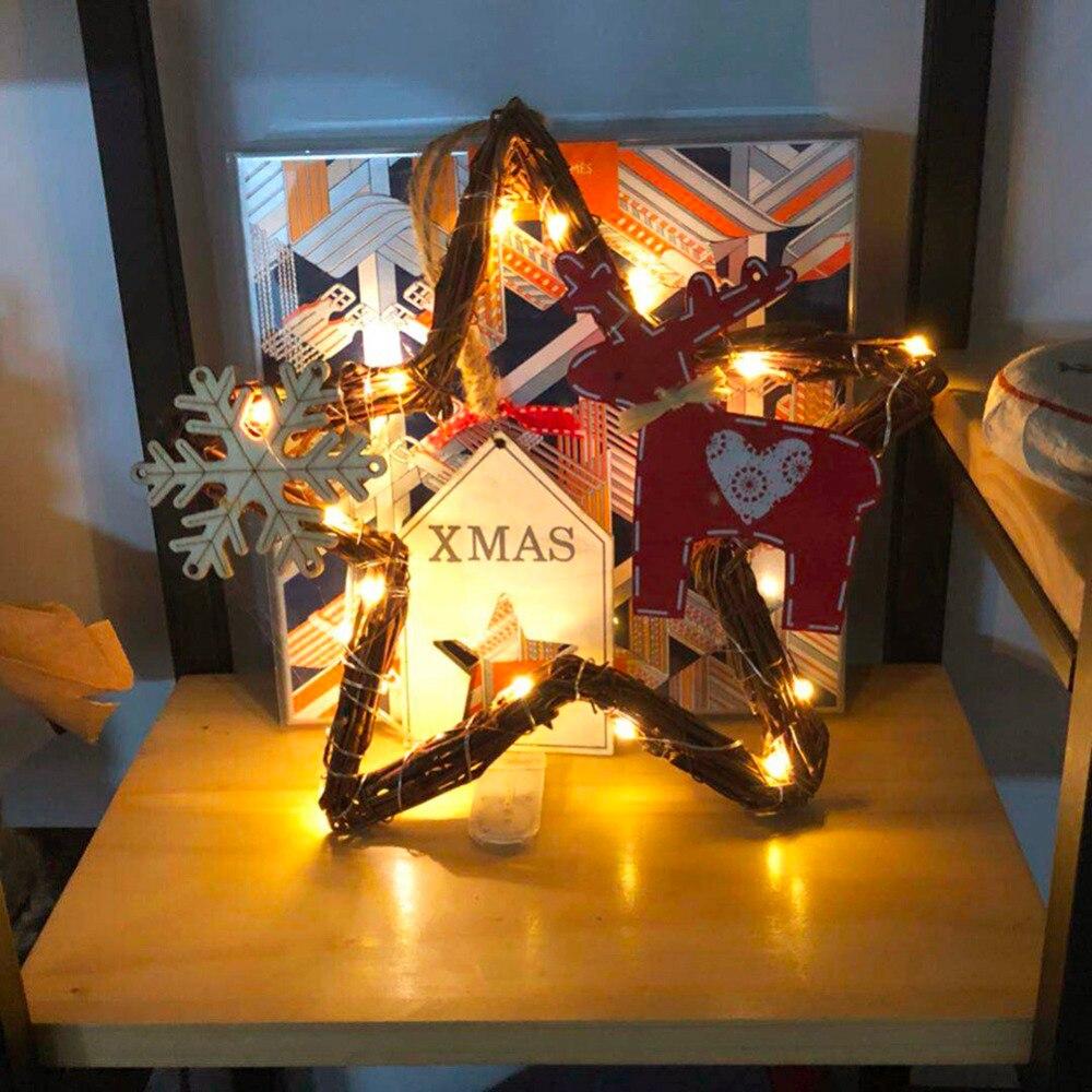 20leds Light Christmas Handmade DIY Vines Rattan Light String Christmas Stars / Round / Heart / Tree Shape With Lights Decor