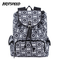 Top Quality Canvas Drawstring Bag Retro Black Flower Women Backpack College Daily Travel Backpacks Bag mochila sac a dos