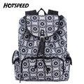 Top Quality Canvas Drawstring Bag Retro Black Flower Women Backpack College Daily Travel Backpacks Bag mochila sac a dos