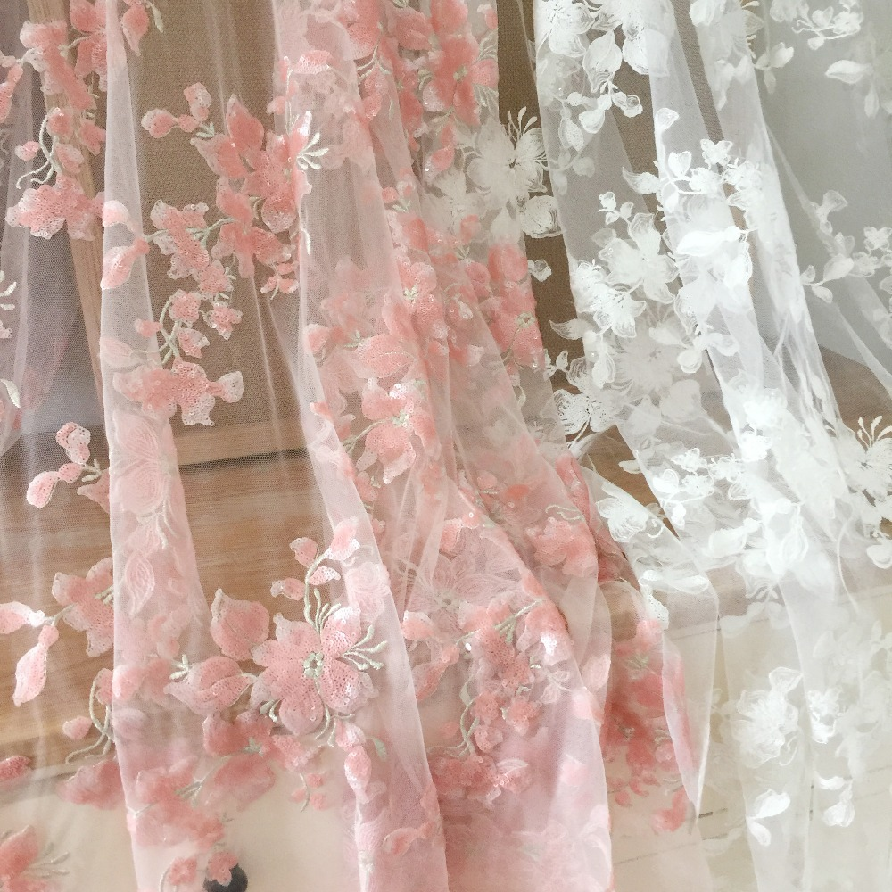 1 Yard Sequin bridal tulle lace fabric in off white pink couture gown dress fabric accessories