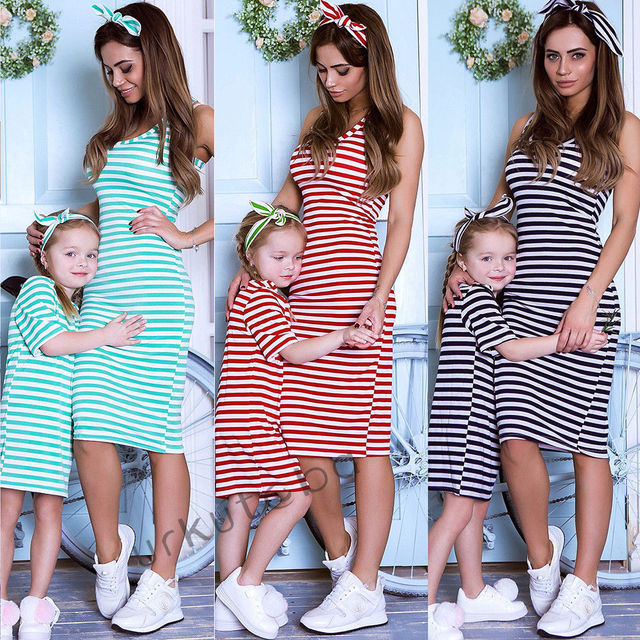 Fashion Mother daughter dresses Family matching Clothes woemn kid Girls Casual Summer Striped Beach Dress elegant playa Vestidos