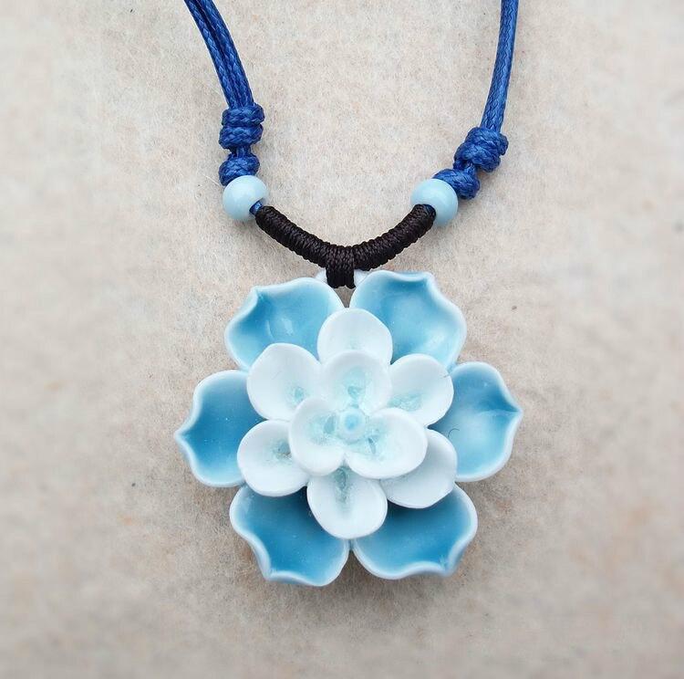 2017 Handmade Chinese Folk Ceramic Choker Vintage Accessories Lotus Porcelain Gems Jewelry Women Pendant Necklace