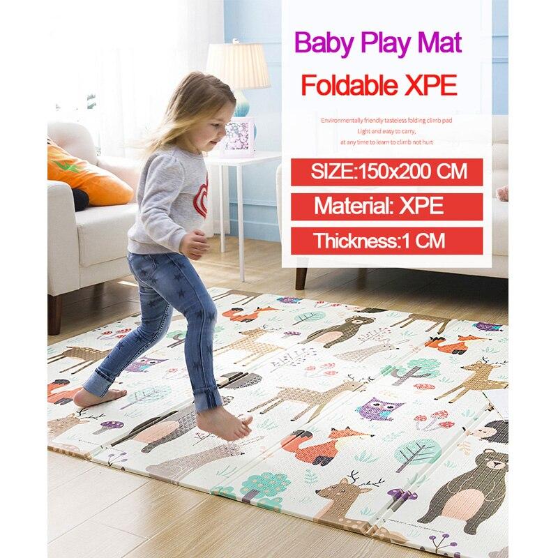 Tapis de jeu bébé XPE Puzzle tapis pour enfants épaissi tapete Infante bébé chambre ramper Pad tapis pliant tapis bébé - 2