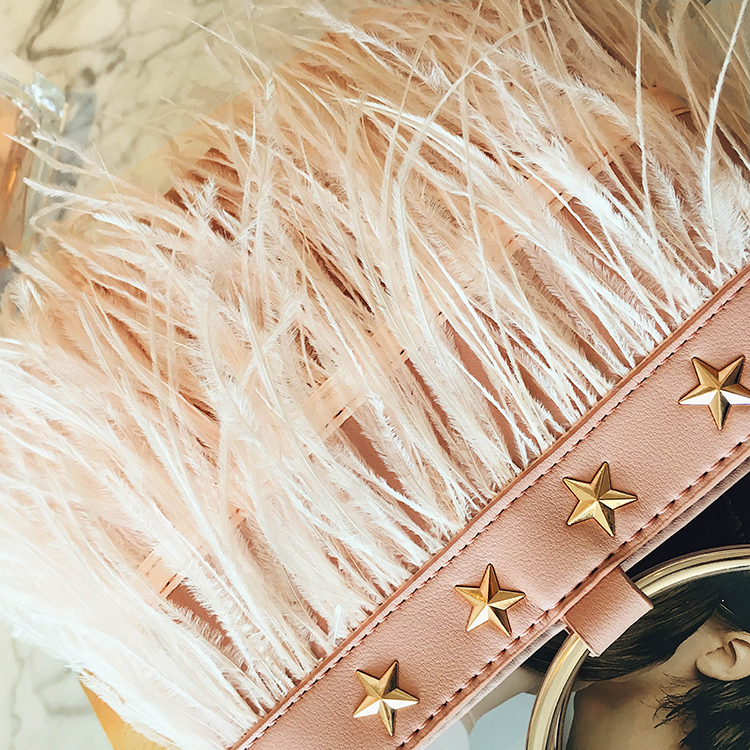 Messenger Famoso Borse Rosa Tracolla Fashion Bag Di colore A Rivetto Marca Lusso Piuma Piccole Frizione Catena Designer bianco Donne Borsa Lxtazg Il Nero 5aAw0qw