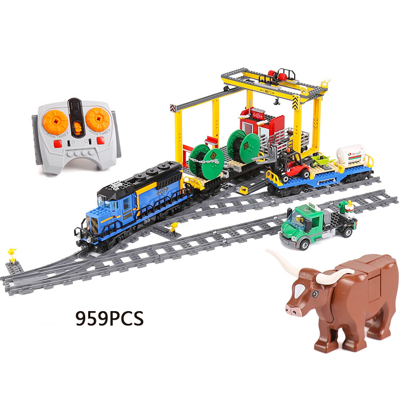 Hot radio remote control city cargo train railway building block model worker bull figures truck bricks 60052 rc toys for kids lepin 02009 city engineering remote control rc train model