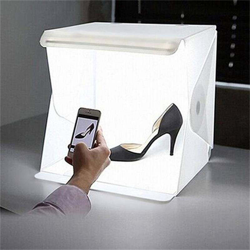 Mini LED Foldable Photo Studio Softbox Light Photography Backdrop Lightbox Camera Photo Background Box Tent Kit Accessories