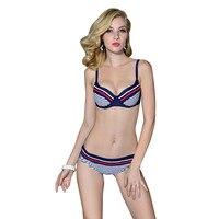 Andzhelika Bikini 2016 New Push Up Swimwear Retro Navy BLue Black White Striped Anchors Bathing Suit