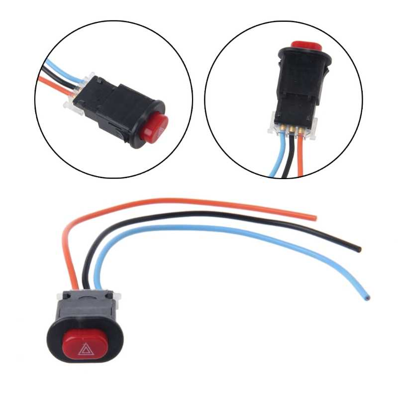 Motorcycle Hazard Light Switch Double Warning Flasher Emergency Signal w/3 Wires Lock DORP SHIPPING