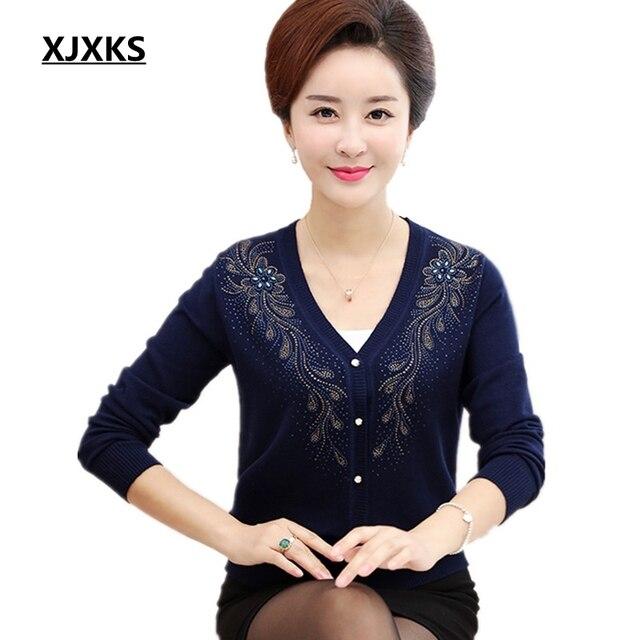 XJXKS אביב והסתיו ארוך שרוולים חצרות גדולות רופפת נשים סוודר לסרוג סוודרים S-5XL יהלומים כל התאמה קרדיגן