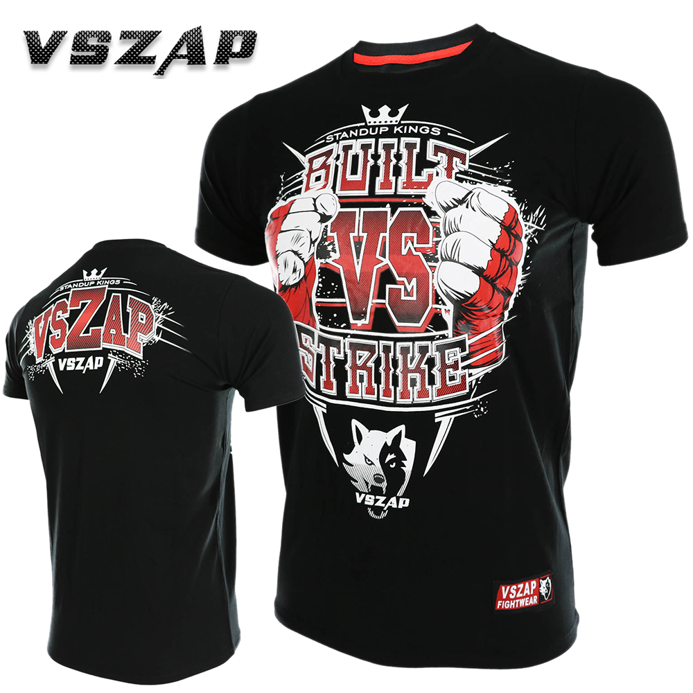 VSZAP Boxing MMA Shorts T Shirt Gym Tee Fighting Martial Arts Fitness Training Men