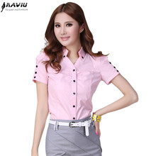 Hot female summer short sleeve women shirt work wear OL formal casual plus size blouse Slim V stand collar office top S XXXL