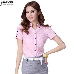 Image 1 - Hot female summer short sleeve women shirt work wear OL formal casual plus size blouse Slim V stand collar office top S XXXL