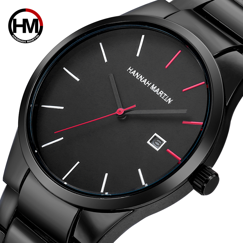 2018 Top Luxury Brand Quartz Watch Men Black Stainless Steel Strap Movement Hand Watches Waterproof Simple Male Wristwatches relojes full stainless steel men s sprot watch black and white face vx42 movement