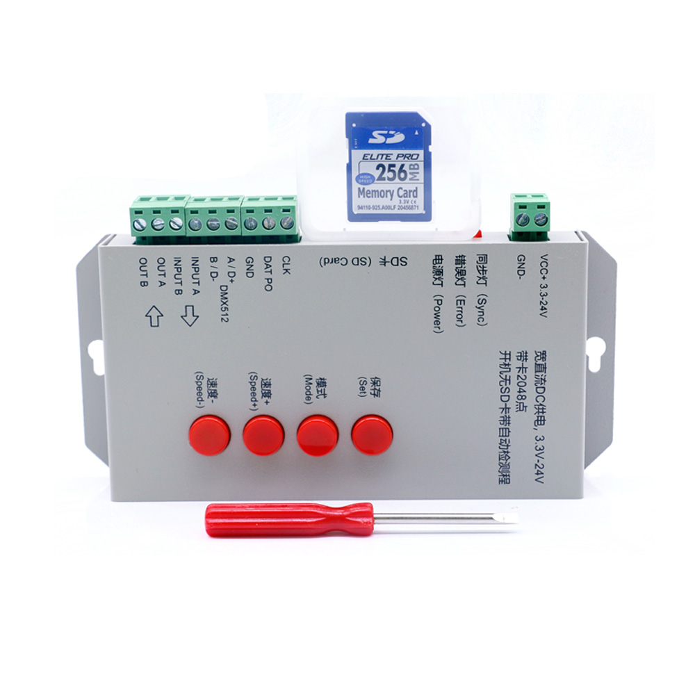 T1000S RGB Controller 256M SD Card WS2801 WS2811 WS2812B LPD6803 LED 2048 Pixels Controller DC5~24V T-1000S Full Color Controlle