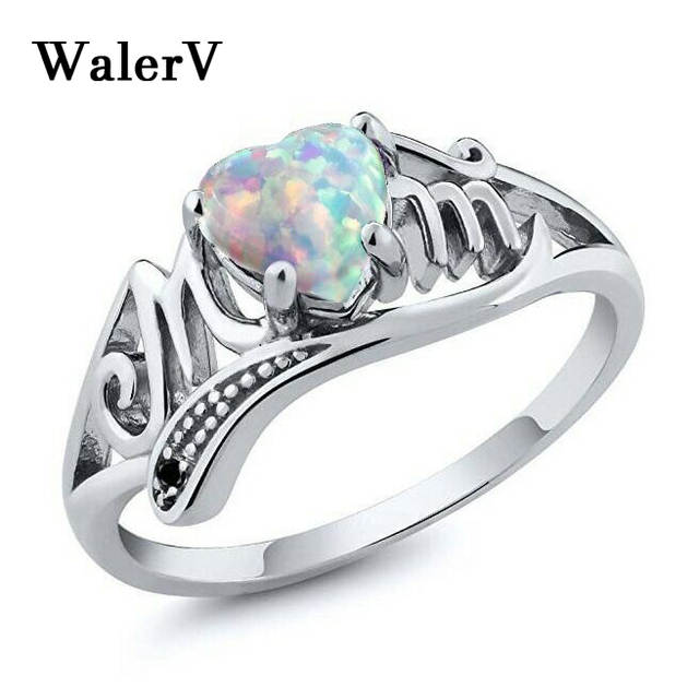 Online Shop WalerV For Womens Silver Color Ring Fashion Carving Letters M Mother Gift Girl Send Mothers Birthday Present Love Opal