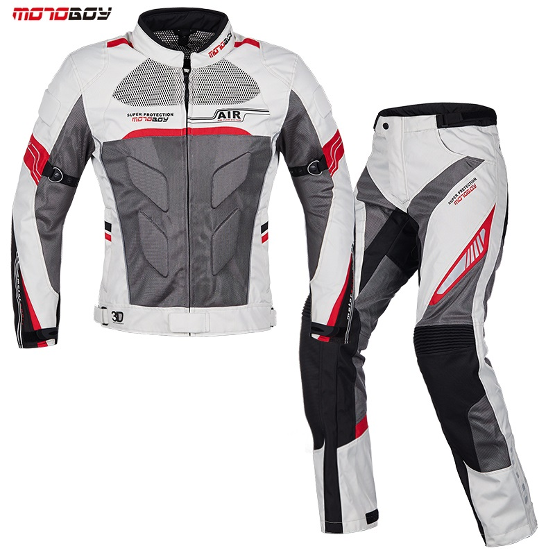 Men Motorcycle Summer breathable jackets motorbike pant motorbike drop set protective Racing clothing