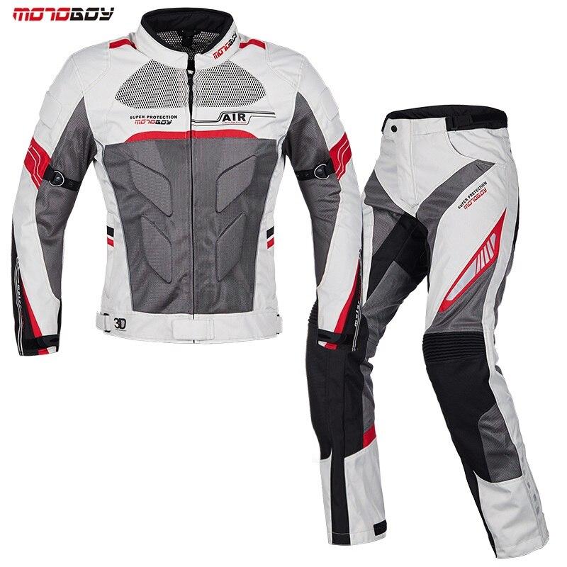 Men Motorcycle Summer breathable jackets motorbike pant motorbike drop set protective Racing clothing