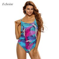 Echoine 2017 New Blue Pink Palm Leaves Print One Piece Swimsuit Strappy Backless Wire Free Padded