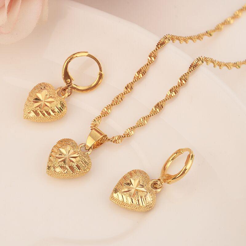 Ethiopian14 k Solid Fine Yellow Gold Filled love heartset Jewelry Pendant Chain Earrings African Bride Wedding Flower Bijoux
