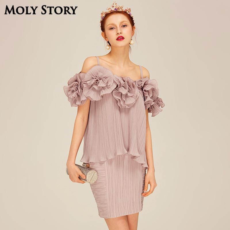 Super! Élégant deux pièces robes en soie mignon fleur plissée Spaghetti sangle Robe Slim Robe Femme formelle Robe femmes