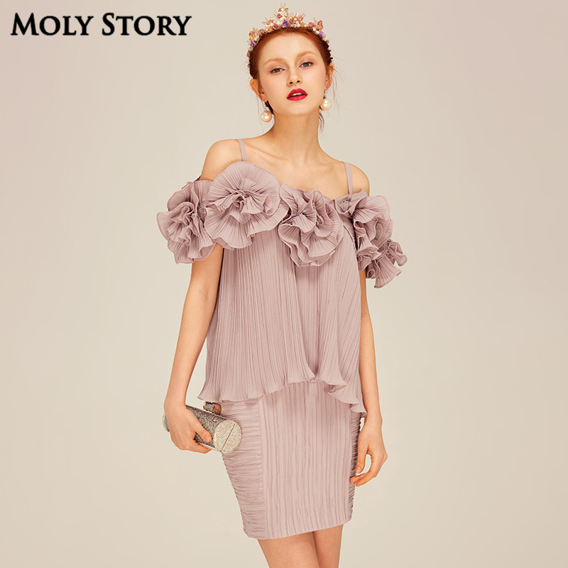 Super! Elegant Two Piece Silk Dresses Cute Flower Pleated Spaghetti Strap Dress Slim Robe Femme Formal Dress Women