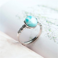 Genuine Natural Larimar Crystal Round Stone Fashion Women Lady Adjustable Size Ring Just One 10*8mm