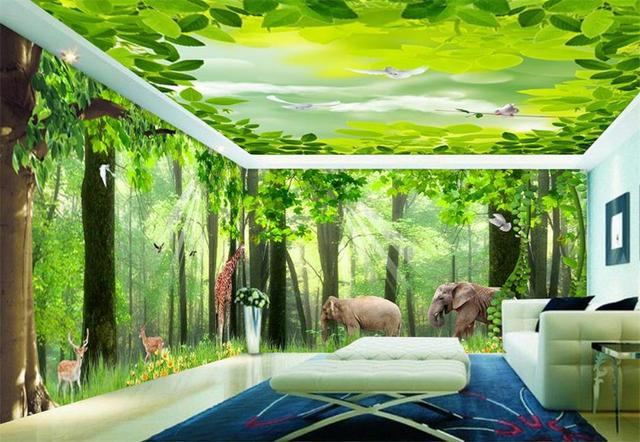 Custom 3d Photo Wallpaper HD Mural Non Woven Green Forest Animal World Whole House