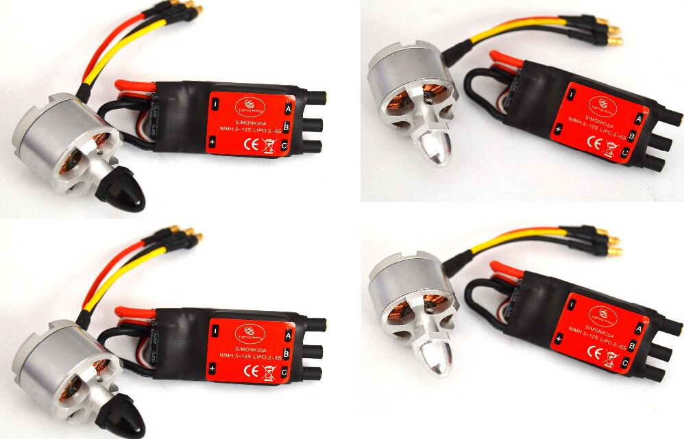 4x 2212 920KV Brushless Motor (CW / CCW)+4x Simonk 30A Brushless Speed Controller ESC w/bec 2 6s Quadcotper Multicopter