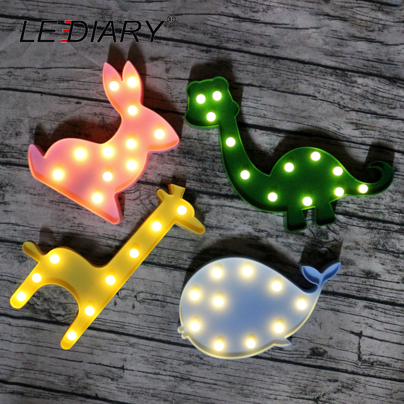 LEDIARY Colorful LED Animal Night Lights Holiday Decor Flamingo Unicorn Dinosaur Swan Giraffe Alpaca Bedside Desk Lamp For Kids lediary cute dinosaur led night light 3 colors decoration lamp warm white christmas night lights animal bedside lamp for kids