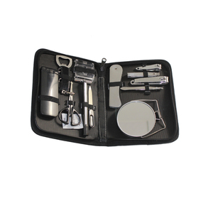 Big Men Boy Gift Travel Professional Nail Manicure Set Grooming Kit Include Nail Clipper Tweezer Mirror Nail File Razor Scissor