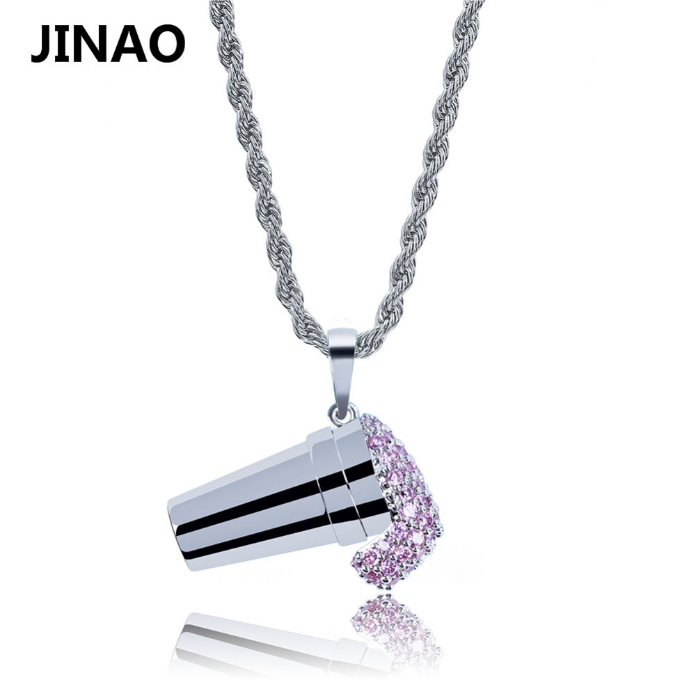 JINAO Hip Hop Ice Cream Pendant Micro Pave Cubic Zircon Necklace For Men Party Gift Jewelry