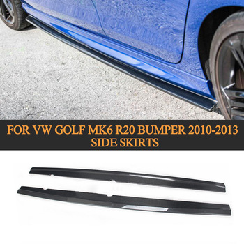 Estilo de coche de fibra de carbono de lado faldas delantal para VW Golf MK6 R20 parachoques solo 2010-2013