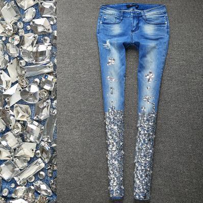 Nouveauté mode femmes diamant cristal perles skinny Vintage taille moyenne crayon Jeans grande taille